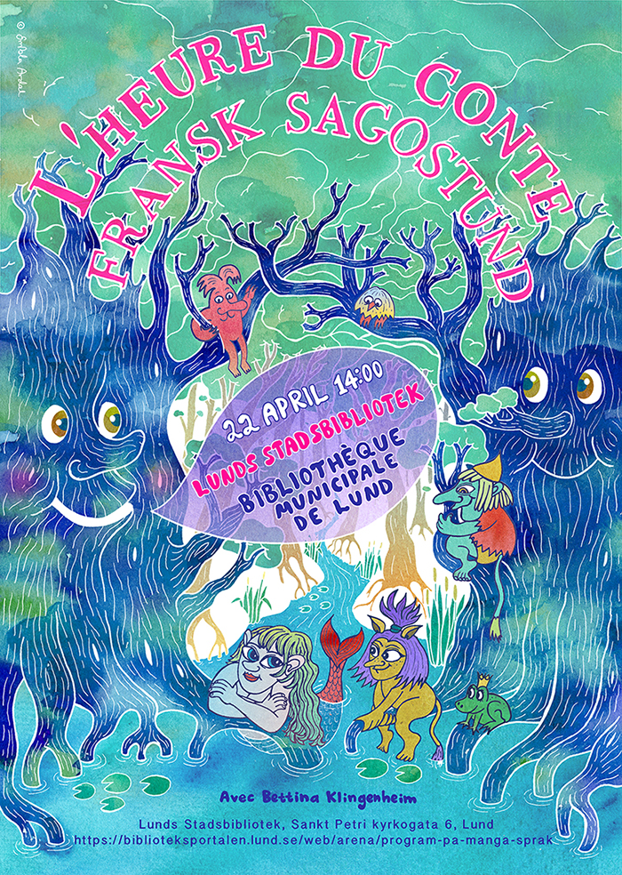 Event poster, French story time, Lunds stadsbibliotek, 2018